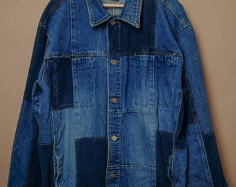 The Denim Pirate Denim Patch Vintage Jacket,  Large size