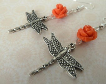 handmade dragonfly and red rose earrings, UK jewellery