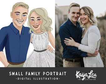 SMALL Family Portrait | Custom Portrait Illustration | DIY Digital Printable | Custom Anniversary Portrait | Caricature Art | Pet Portrait
