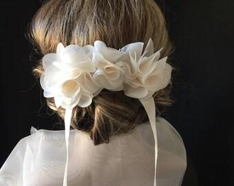 Bridal flowers, white flower hair clip Barrette off ideal bridal hair or bun. ideal hair, wedding, bridemaids.