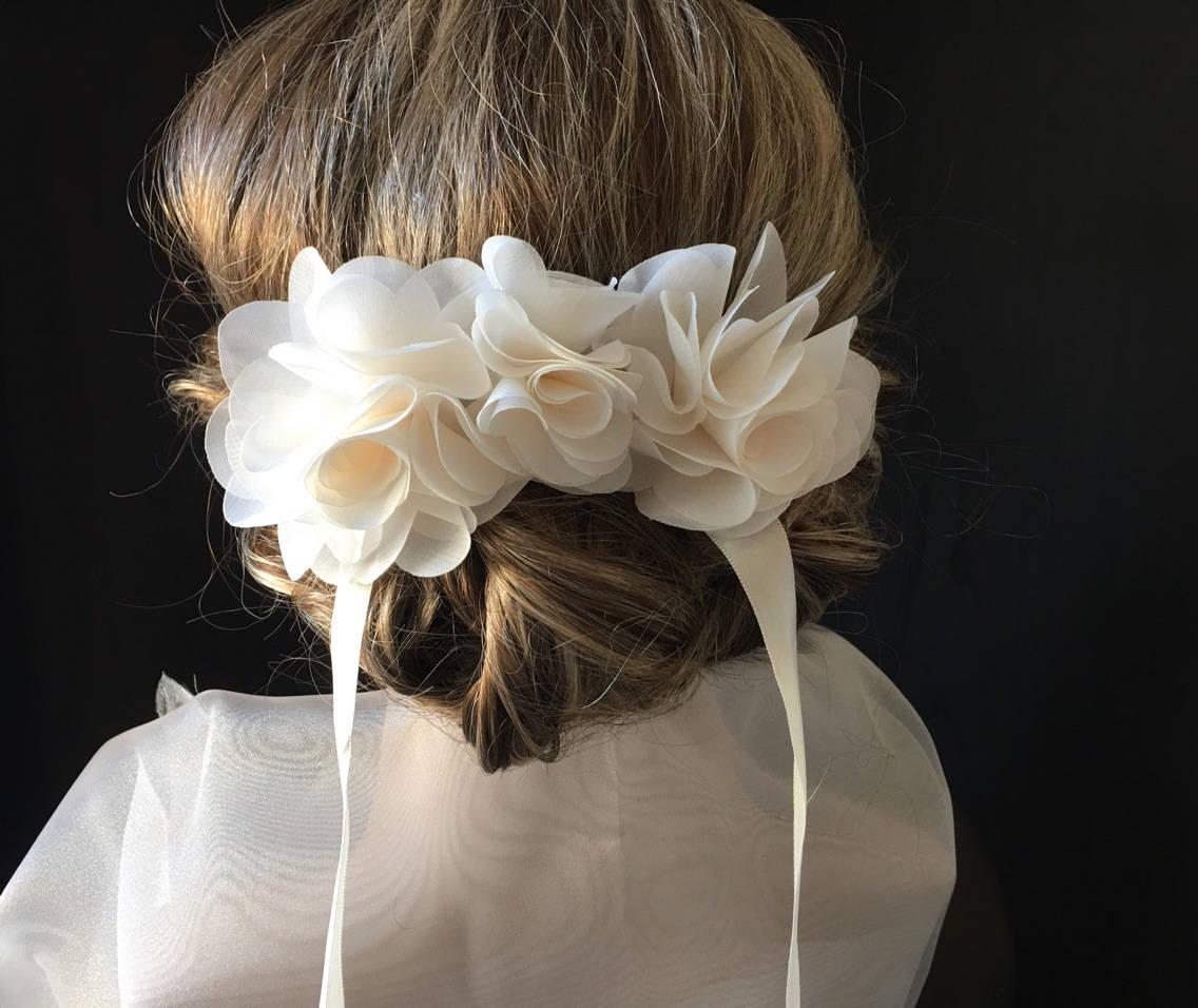 Bridal Flowers White Flower Hair Clip Barrette Off Ideal