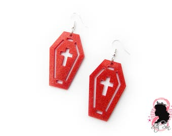 Red Glitter Acrylic Coffin and Cross Earrings, Red Acrylic Cross Earrings, Red Acrylic Coffin Earrings, Red Coffin Earrings