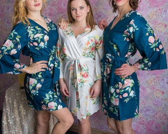 Premium Dark Teal Blue Bridesmaids Robes - Dreamy Angel Song Pattern - Soft Rayon Fabric - Better Design - Perfect as getting ready robes