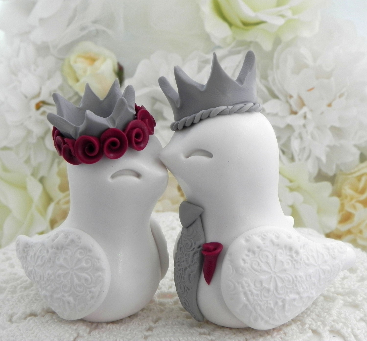 King & Queen Love Birds Wedding Cake Topper White Grey and
