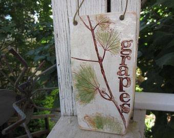 Grape Leaves Ceramic Tile