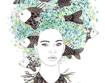 Mermaid Art Print 8x10