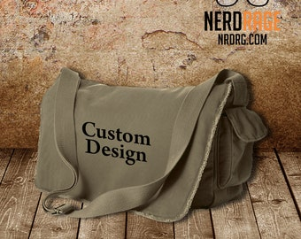 Custom Canvas Messenger Bag - Cotton Canvas Bag - Personalized Bags Available