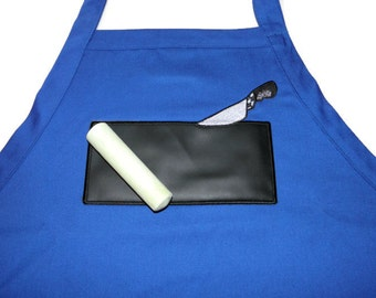 "BBQ Chalkboard APRON Embroidered 34"" With USABLE Chalkboard Knife Real Working Chalk Board"