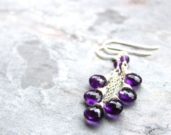 Amethyst Earrings Purple Gemstone Earrings, Sterling Silver Dangle Briolette Earrings February Birthstone