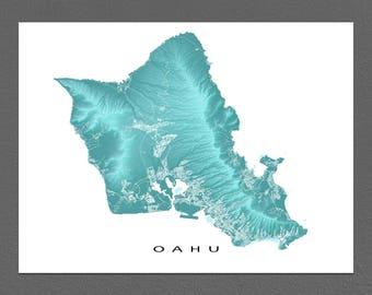 Oahu Map Print, Oahu Art, Oahu Hawaii USA, Honolulu, Waikiki