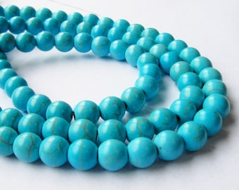 "Turquoise Round Beads - Blue Turquoise Howlite - Gemstone Round Ball Beads - Smooth Drilled -6mm OR 8mm - 16"" Strand - DIY Jewelry Making"