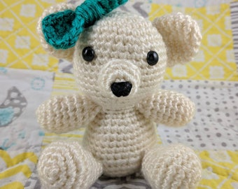 Ivory Teddy Bear with bow or bowtie for baby shower gift or children