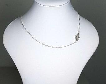 Hamsa Sideways Necklace, Sterling Silver Small Hand of Fatima Necklace, Hamsa necklace, Hamsa Hand Necklace, Silver necklace