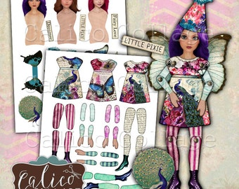 Printable, Paper Dolls, Digital, Collage Sheet, Spring Peacock Dolls, Altered Art Doll, Vintage Printable, Decoupage Paper, Craft Sheet