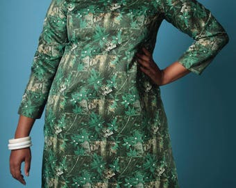 Vintage 60's Dress // MARIJUANA Photo Pot PRINT Mary Jane Party Dress // Vintage Plus Size Dress (sz XL 12 14)