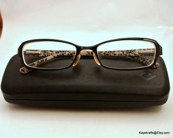 BEBE Brown Metal Eyeglasses and Joseph Abboud Brown Hard Eyeglass Case 1980s BEBE Eye Glasses Signed Eye Glasses