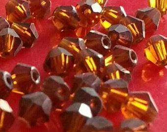 100x Brown crystal beads 4mm Austrian faceted bicones smoky topaz jewellery making diy jewelry  rosary parts earring bracelet necklace UK