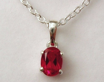 Genuine SOLID 925 STERLING SILVER July Birthstone Ruby Pendant