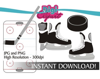 Hockey Clipart Ice Skates, Puck, Stick, Hockey Rink NHL Sports Clip Art INSTANT DOWNLOAD