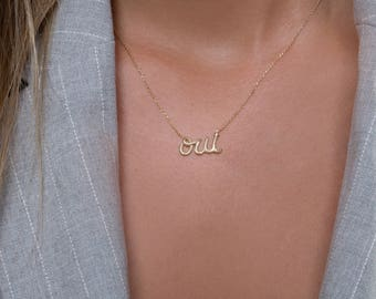 OUI necklace, Solid gold oui necklace, OUI symbol,  Rose gold necklace,  Gift for her,  Dainty necklace, Charm necklace