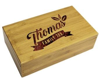 Personalized Tea Box, Tea Bag Holder, Housewarming Gift, Kitchen Gifts, Engraved Tea Storage Organizer, Gifts For Grandma, Mom Gift