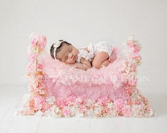Newborn Photography Digital Backdrop for girls - Cherry Blossom Bed