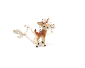 Fawn Necklace, Deer Necklace, Charm Necklace, Charm Jewelry, Deer Pendant, Deer Jewelry, Deer Charm, Jewelry Gift, Baby Deer Necklace