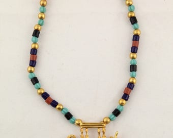 Vintage Egyptian Revival  sky boat ship riders multi color glass beads gold tone necklace pendant