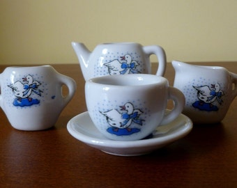 Adorable Miniature Teacup Set for One with Goose