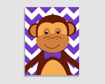 Monkey Nursery Art - monkeys - 8x10 Print - Choose Your Colors - Shown in Purple, Lime, and More
