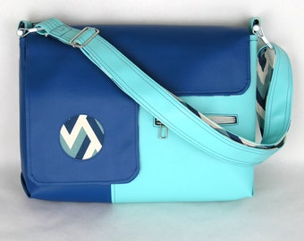 SALE! Vegan Laptop Bag Turquoise and Royal Blue, vinyl laptop bag