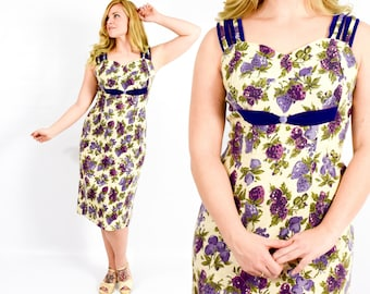50s Purple Print Dress | Purple Wiggle Dress | Berry Print Dress |  X-Large