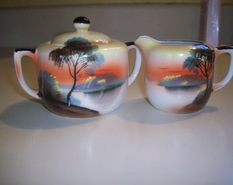 Noritake sugar bowl and creamer