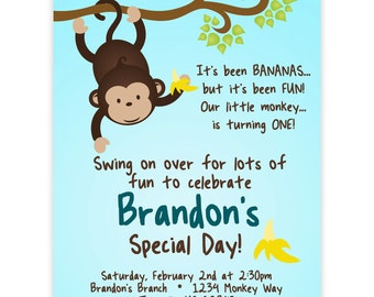 Mod Monkey Invitation - Blue Boy Mod Monkey Hanging from a Branch Personalized Birthday Party Invite - a Digital Printable File