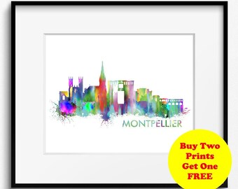 Montpellier Skyline Watercolor Art Print (361) Cityscape France