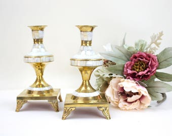 Vintage Candle Holders, Pair Of Candle Holders, Mother Of Pearl And Brass  Candle Holders