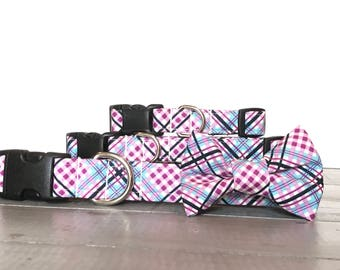 Plaid DOG COLLAR, Dog Collars, The MADDOX, Purple, Blue, Black and White, Cool Dog Collar