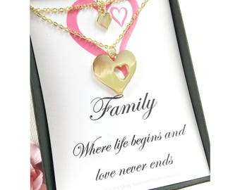 Family necklaces, message card necklace, heart cutout necklace for mother and daughter bonding jewelry, gift for mother, mom gift,