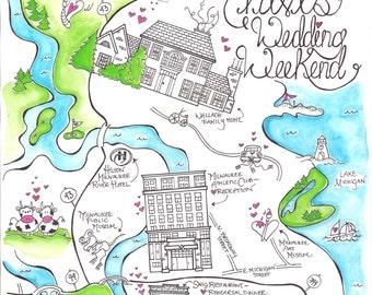 Illustrated Wedding Map, Austin Map, Wedding Map, Custom made