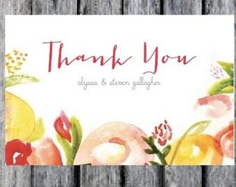 Printable Floral Wedding Invitation Thank You Card Add On