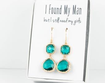 Long Teal Gold Earrings, Gold Teal Blue Earrings, Bridesmaid Jewelry, Teal Wedding Jewelry, Blue Green Gold Earrings, Bridesmaid Earrings