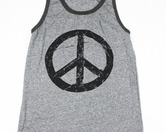 Mens Peace SignTank Top -  Peace Tank Top - 70s - Peace Sign Shirt - 60s Shirt - Small, Medium, Large, XL, 2XL