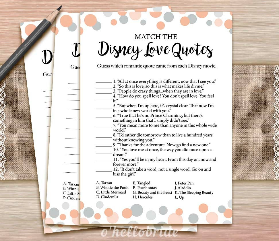 Printable Love Quotes Disney Love Quotes Match Game Printable Coral Bridal Shower