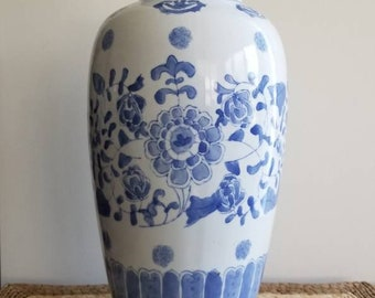 Chinese Porcelain Tall Vase | Floral Motif | Blue and White