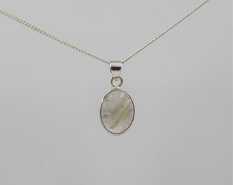 Rutilated Quartz Gemstone Pendant - Sterling Silver