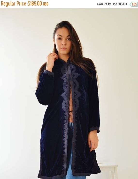 KAFTAN 20% SALE/ Long Navy Blue Velvet Luxury Jacket with Embroidery-Nadia-boho wear, birthday gifts, bohemian jacket, velvet, mother's day
