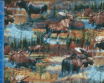 Moose Wild Wing Cotton Fabric, Home Decor Quilt or Craft Cotton Fabric