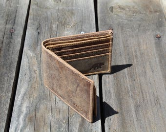 Buffalo Leather Wallet - Distressed Brown (Antique Brown)