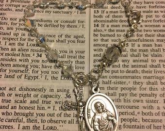 Holy Spirit Swarovski AB Crystal Rosary Bracelet