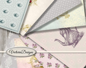 Tea Time Papers printable 8.5 x 11 inch paper pack crafting scrapbooking instant download digital collage sheet - VDPAVI1428
